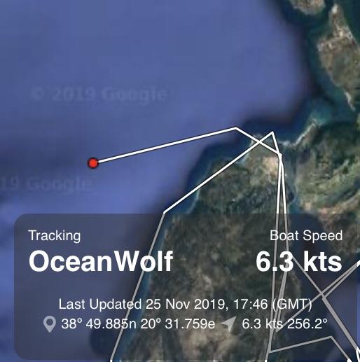 Location tracker showing Ocean Wolf leaving Lefkas